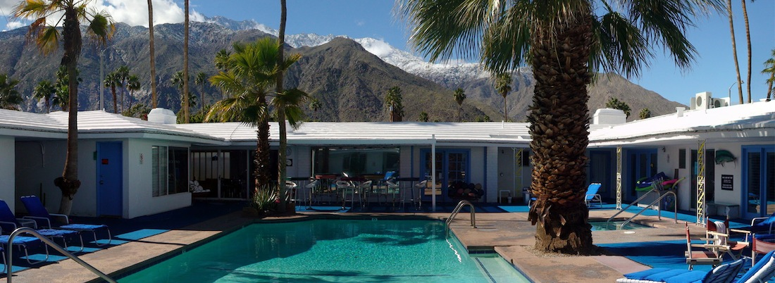 Iconic view from the pool of the snow capped Mt. San Jacinto mountains.